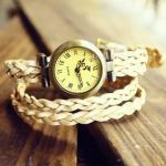 Cool Retro Vintage White Woven Bracelet Watch