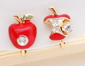 Shiny Red Apple Earrings For Two