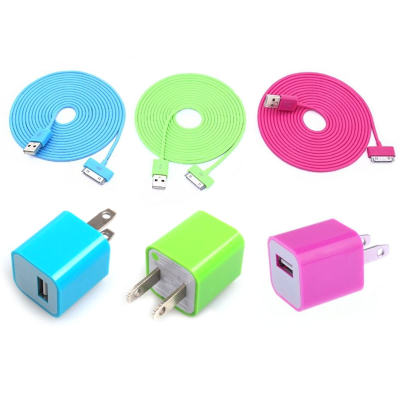 Total 6pcs/lot! Cool Colourful 3PCS USB Cable Cord And 3PCS USB Power Adapter Wall Charger For Iphone 4/4s
