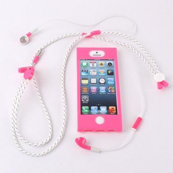 Fashion Necklace Headphones Line and Pink Soft and Hard Protective Case One Suit For Iphone 5